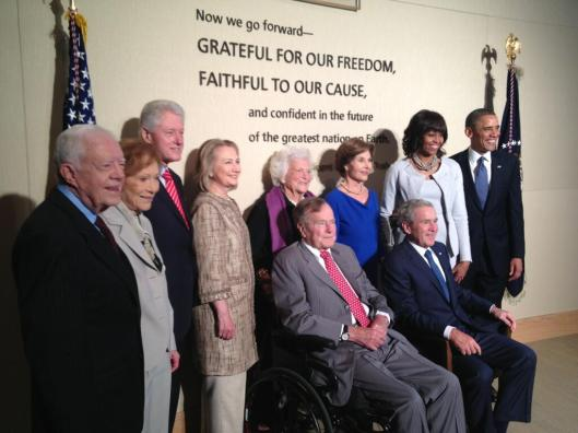 All five living presidents of the United States & their spouses including former Secretary of State Hillary Clinton.