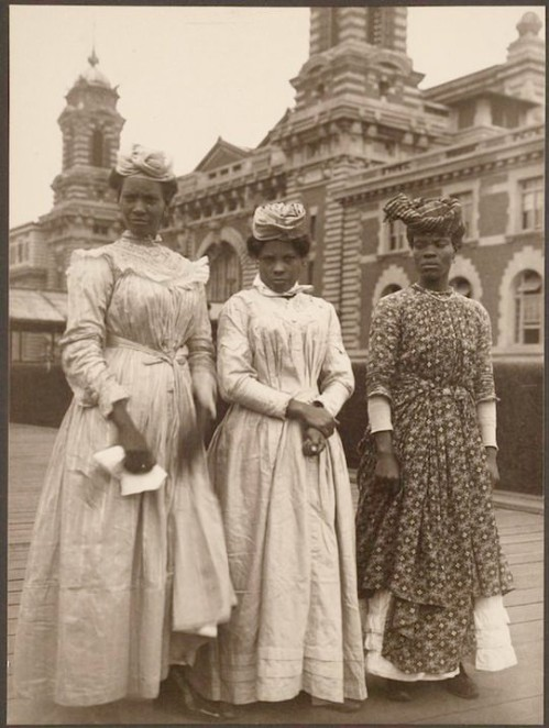 Three women from Guadeloupe, Ellis Island circa 1900 (Photo via the NYPL)